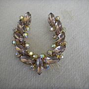 Vintage Amethyst-colored and rhinestone horseshoe shaped pin