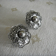 Vintage Screw-back Earrings: White Metal Filagree
