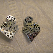 Signed Espinosa Vintage Mexican Sterling Earrings