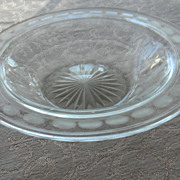 Hand-cut and etched early 1990s Glass Serving Bowl