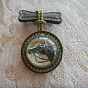 VIntage Reverse Intaglio & Leather Horse Pin