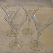 4 Cut Glass Wine Glasses