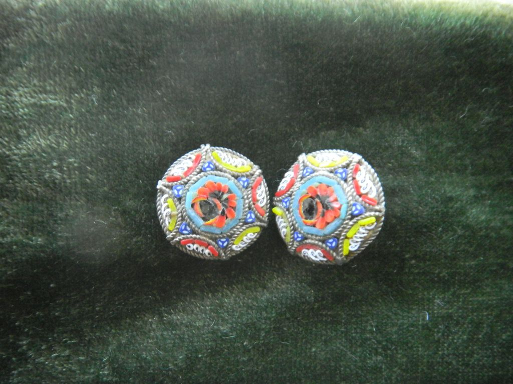 Vintage Millefiore Micro mosaic earrings