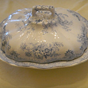Antique English Transferware Lidded Tureen