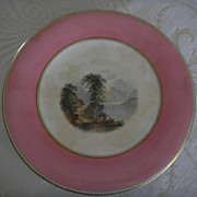 French Sevres Pink Handpainted Landscape Plate