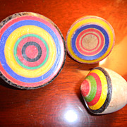 3 vintage Swiss wooden spinning tops