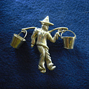 Huge Vintage Mexican Silver Brooch - Man carrying water buckets