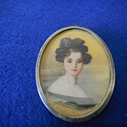 Antique Portrait Miniature/Sterling Brooch/Locket