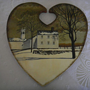Handpainted Folk Art Wooden Plaque: New England Winter