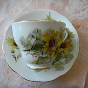 "English China Tea Cup & Saucer Set ""Brown Eyed Susan"""