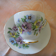 "English China Cup & Saucer Set ""Pansies"""