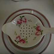 Hand Painted Roses China Tea Strainer