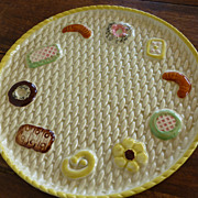 Vintage Majolica Basket Weave Cookie Plate