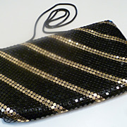 Vintage Black and Gold Mesh Evening Bag Purse