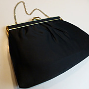 Andre Black Satin Evening Bag Clutch