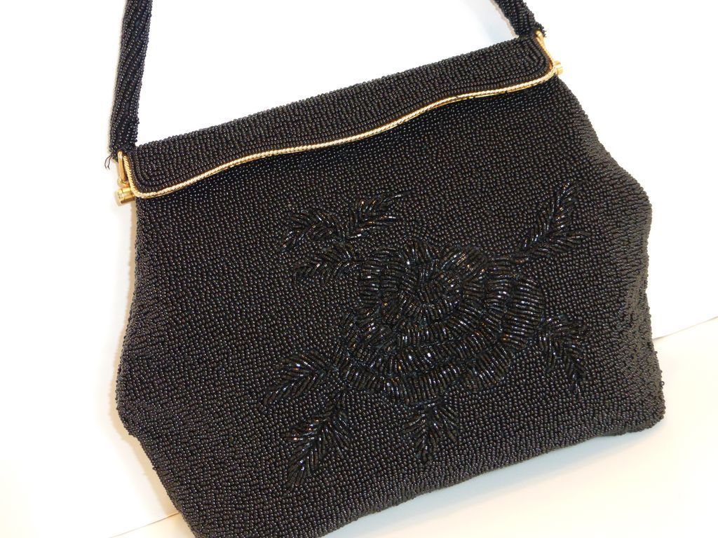 vintage black beaded evening bag purse from historique on ruby