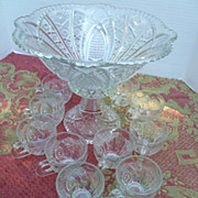 Sandwich Glass Paneled Daisy Fine Cut Punch Bowl Set Indiana Glass Co
