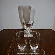 Mid-Century Modern Crystal Rectangular Foot Glasses � Set of 6
