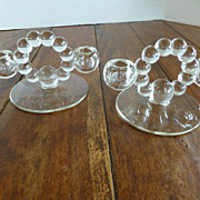 Duncan Miller Tear Drop Candlesticks Ball Loop Center PAIR