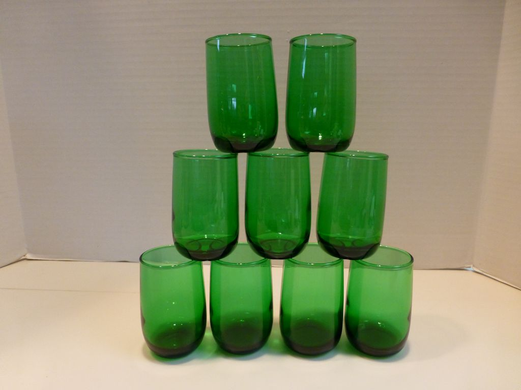 Anchor Hocking Small Tumblers Emerald Forest Green Set of 9