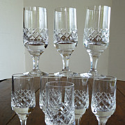 Vintage Crystal Wine Goblets Heavy Weight Set of 8