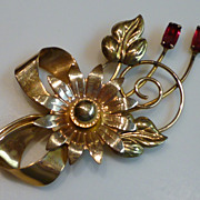 1940's Gold-Filled Ruby Rhinestone Floral Pin Brooch Signed Bal-Ron