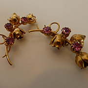 Vintage 1940s Gold Tone Pink Rhinestone Flower Brooch