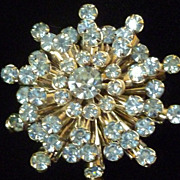 Vintage Sky Blue Rhinestone Brooch