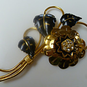 Huge Black Enamel Gold Tone Rhinestone Brooch