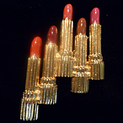 Estee Lauder Gold Tone & Enamel Lipstick Pin