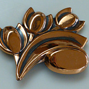 Vintage Signed Renoir TULIP Brooch Pin Copper