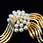 Vintage Faux Pearl Brooch Pin Signed ART
