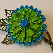 Enameled Metal Flower Power Brooch Pin