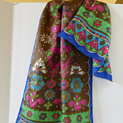 Vintage 1960�s Long Flower Power Lady Heritage Scarf