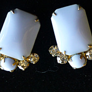 Vintage Blue Milk Glass Rhinestone Earrings