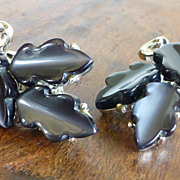 1960s Lisner Deep Gray Moon Glow Lucite Leaf Earrings
