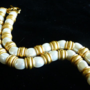 1980s Anne Klein Faux Pearl Necklace MINT