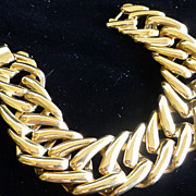 Signed MONET Bright Gold Tone Fancy Link Bracelet