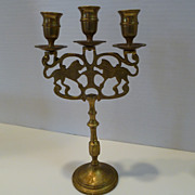 Antique Polish Cast Brass Three Light Sabbath Candelabra