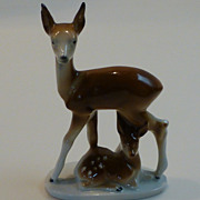 Vintage Carl Scheidig GDR Porcelain Doe and Fawn Figural East Germany
