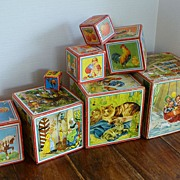 VINTAGE 1940's ~ Wooden Toy Litho Nesting Blocks Set