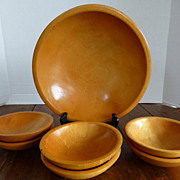 Vintage MUNISING Wooden Salad Bowl Set Maple 7 Pieces