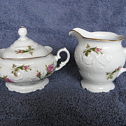 Wawel Pompadour Rose Creamer & Sugar Made in Poland