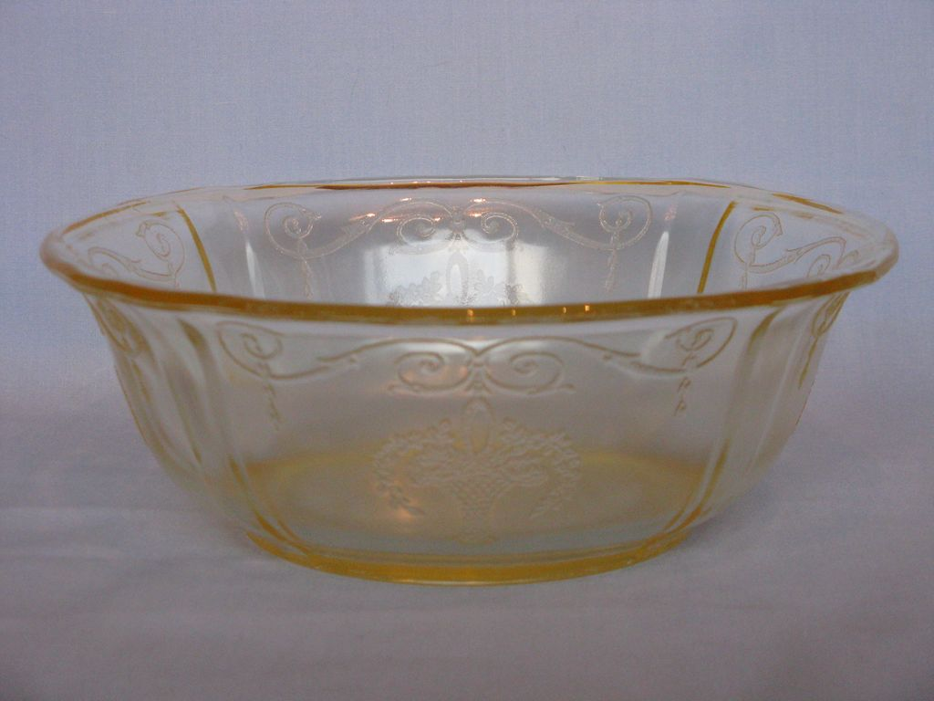 "Depression Glass Yellow Loraine ""Basket"" Salad Bowl"