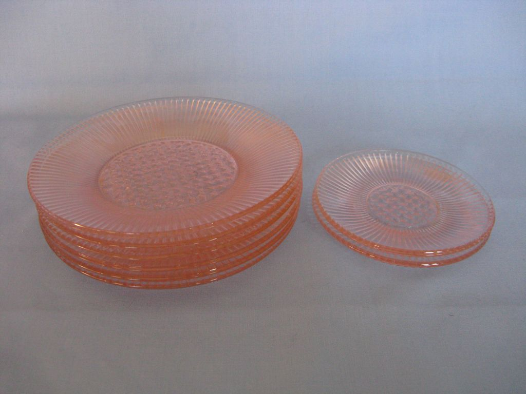 "Depression Glass Pink Homespun ""Fine Rib"" Child's Plate Set"