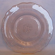 Depression Glass Pink Normandie &quot;Bouquet And Lattice&quot;  Salad Plates