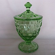 "Depression Glass Green Cube ""Cubist"" Candy Jar"