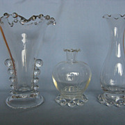 Imperial Glass Candlewick Crimped Vases - Set Of Three
