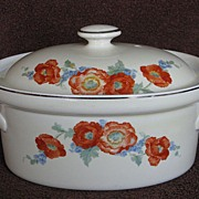 Hall China Orange Poppy Oval Baker