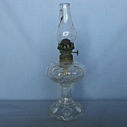 Large Bull's-eye Foot And Shoulder Miniature Oil Lamp